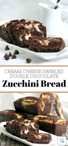 Recipe for cream cheese swirled double chocolate zucchini bread. Recipe for cream cheese swirled double chocolate zucchini bread. Zucchini Desserts, Zucchini Bread Recipes, Köstliche Desserts, Delicious Desserts, Dessert Recipes, Yummy Food, Zucchini Bread Muffins, Zuchinni Bread, Recipe Zucchini