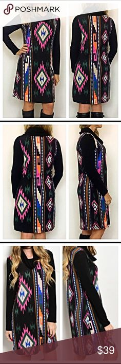 Flattering Tunic Sweater Dress S M L Flattering, fun & colorful Tribal cowl neck sweater tunic dress. This dress lays so nice & is very forgiving in all the right places (a'hem tummy). Soft & cozy & looks fabulous alone or with leggings/tights. Throw this on with your favorite boots & you are ready for day or nighttime fun. 94% polyester 6% spandex S M L  Small Bust 34-36 Length 36 Medium Bust 36-38 Length 37 Large Bust 38-40 Length 3 Dresses Midi