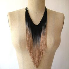 ombre fringe necklace; DIYable