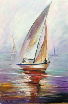 Painting of a sailboat - - Sailboat Art, Sailboat Painting, Sailboats, Landscape Art, Landscape Paintings, Ireland Landscape, Boat Drawing, Sea Art, Seascape Paintings