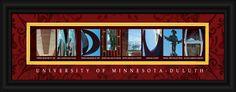University of Minnesota-Duluth Officially Licensed Framed Letter Art