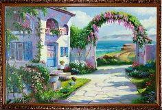 Испанский дворик - Средиземноморье <- Картины маслом <- Картины - Каталог | Универсальный интернет-магазин подарков и сувениров