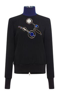 Black And Blue Embellished Jumper by DAVID KOMA for Preorder on Moda Operandi