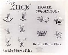 Vintage Disney Alice in Wonderland: Flower Suggestions Model Sheet - Rocking Horse Flies and Bread & Butter Flies