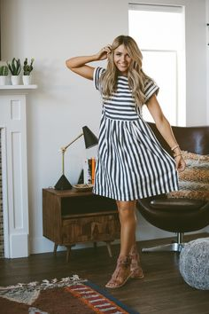 Clad & Cloth Brand - Blue and ivory striped dress - Made from soft cotton linen blend - RUNS BIG (we recommend sizing down).