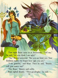 """My FAVORITE Telling of Beauty & The Beast (this is what made me fall in love with the story, not the movie - but the movie helped) Gordon Laite """"Blue Book of Fairy Tales"""""""