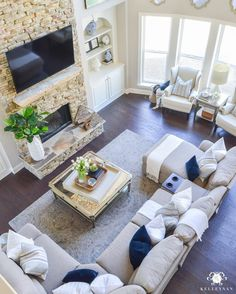 Decked And Styled Spring Home Tour Kelley Nan Two Story Living Room Or Great With Nottaway Hickory Hardwoof Floors Stacked Stone Fireplace