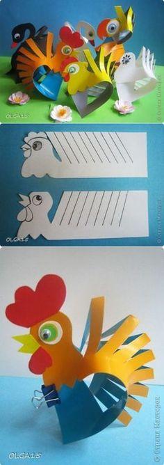 Eu Amo Artesanato: Galinho de papel