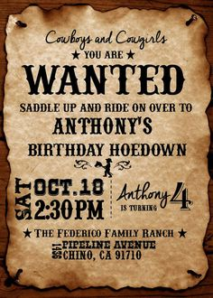 Western Theme DIY Printable Invitation by BrensKreations on Etsy