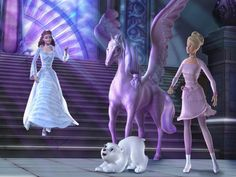 Annika, Brietta and Shiver meets Rayla the Cloud Queen from Barbie and the Magic of Pegasus