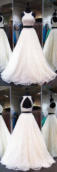 Newest Ball Gown Prom Dresses,Scoop Neck Tulle White Evening Dresses, Pearl Detailing Long Formal Dresses,Open Back Two Piece Party Gowns