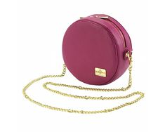 Cross-body leather bag in fuchsia offers trendy round design in a single lightweight and compact bag. Please check on necessities. Leather Backpack Purse, Leather Crossbody, Leather Handbags, Crossbody Bag, Cow Leather, Leather Bag, City Bag, Saddle Bags, Calves