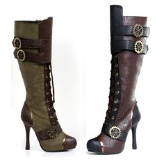 The Violet Vixen - Clockwork Steampunk Steppers, $89.00 (http://thevioletvixen.com/shoes/clockwork-steampunk-steppers/) High boots in military green with buckles or brown and black brass and gold heels.