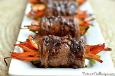 PTR Balsamic Glazed Steak Rolls: marinated skirt steak wrapped around lovely vegetables topped with a balsamic glaze Meat Recipes, Cooking Recipes, Healthy Recipes, Healthy Dinners, Paleo Food, Recipes Dinner, Delicious Recipes, Healthy Food, Recipies