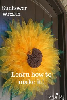 Sunflower Wreath Inspiratoin - Sunflower wreath using inexpensive Deco Poly Mesh and the Unique in the Creek flower board. See the details and video at Trendy Tree! Source by trendytree Sunflower Burlap Wreaths, Burlap Flowers, Paper Flowers, Sunflower Tree, Sunflower Decorations, Sunflower Crafts, Floral Wreaths, Trendy Tree, Wreath Crafts
