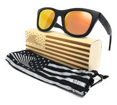 7227c5780e Patriot Shades Polarized   Floating Bamboo Size Large Wayfarer Sunglasses