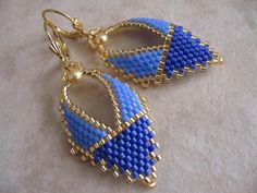 Beadwork Russian Leaf Earrings Two Tone Blue by pattimacs