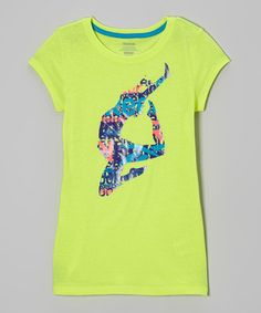 Love this Neon Yellow Dancer Tee - Girls by Reebok on #zulily! #zulilyfinds Could make one with fabric, cut out silhouettes?