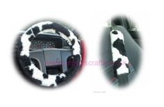 Black and White Cow print fuzzy Car Steering wheel cover & matching faux fur seatbelt pad set Fuzzy Steering Wheel Cover, Handmade Shop, Handmade Items, Cow Appreciation Day, Seat Belt Pads, White Cow, Jeep Accessories, Cute Cars, Cow Print