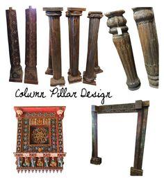 """Column Pillar Design Decor"" by era-chandok ❤ liked on Polyvore featuring interior, interiors, interior design, home, home decor, interior decorating, furniture, columns, antiquepillar and carvedpillar"