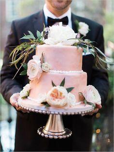 pretty pink wedding cake