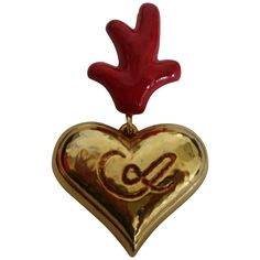 Heart brooch Christian Lacroix model That's life! heart in gold metal with engraved above LC pin in used condition model collector