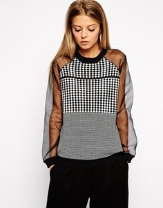 b56f33fc7c ASOS Pattern Jumper With Sheer Sleeves Outlet