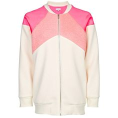 D'ALBERT - Scuba Bomber With Mohair (£400) ❤ liked on Polyvore featuring outerwear, jackets, bomber jacket, bomber style jacket, flight jacket, flight bomber jacket and pink jersey
