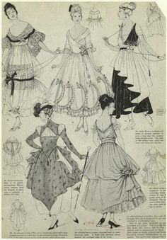 Fashion plate, 1916, Harper's Bazaar - I really like some of those skirt styles - the middle top and the bottom right. :D