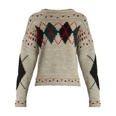 Isabel Marant Glens argyle intarsia-knit sweater (£720) ❤ liked on Polyvore featuring tops, sweaters, grey multi, intarsia sweater, grey knit sweater, gray top, knit sweater and isabel marant