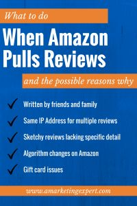 What to do when Amazon pulls your reviews #amwriting
