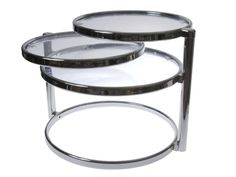 Deco Style Chrome & Glass Coffee/ side table with tiered levels that swivel out. Ideal for a corner sofa