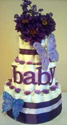 B Koenig Purple Butterfly Diaper Cake. I think I need it at my baby shower. Cadeau Baby Shower, Baby Shower Diapers, Baby Shower Cakes, Baby Shower Parties, Baby Shower Gifts, Baby Showers, Butterfly Diaper Cake, Butterfly Baby Shower, Butterfly Cakes