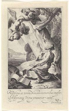 Jan van de Velde (II) | Roeping van Jona, Jan van de Velde (II), 1603 - 1641 | Jona door God geroepen om naar Nineve te gaan. In de lucht een engel en cherubijnen. Eerste prent uit een serie van vier over het bijbelboek Jona.