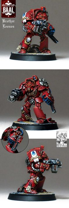 Blood Angels Terminator Brother Leonos of squad Alphaeus, from the Deathstorm box set.