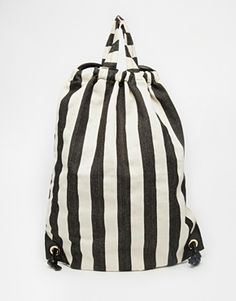ASOS Drawstring Backpack In Stripe