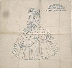 Vintage Briggs embroidery transfer - Belle - Crinoline Lady with fan | eBay