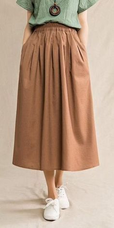 39c9ba0530 CASUAL PLUS SIZE VINTAGE COTTON LINEN SKIRTS Khaki Dress