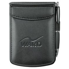 """- Business card pockets - Elastic pen loop (pen included) - Includes 3"""" x 4 3/4"""" unlined writing pad"""