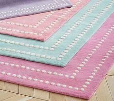 Pearl Dot Border Rug   Bright Pink #pbkids