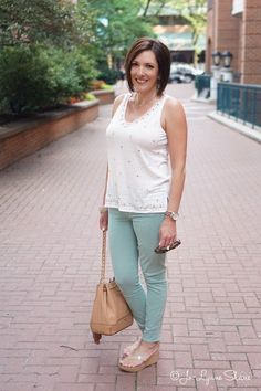 Summer Casual Date Night Outfit: mint skinnies, embellished tank, wedge sandals with Lexi Bucket in Cuoio