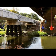 Great set under an old bridge. #hammock #hammocklife #hammocking #hangout #eno #grandtrunk