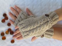 Beige Fingerless Gloves With Wooden Buttons,Knitting Pattern, Hand Arm Warmers,Winter Accessories, Fall Fashion,Mittens. $24.00, via Etsy.