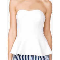 FOREVER 21 Strapless Peplum Top ($15) ❤ liked on Polyvore