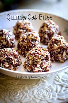 Grain Crazy: Quinoa and Oats Bites (Protein). Great way to eat quinoa in a yummy snack. Quinoa Bites, Protein Bites, Quinoa Protein, Protein Bar Recipes, Snack Recipes, Cooking Recipes, Healthy Baking, Healthy Desserts, Quinoa Desserts