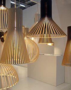 Wood light fixtures.