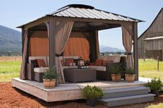 wooden gazebo-one side open and one side curtained (shed side)
