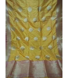 Yellow Banarasi Handloom Silk Georgette Dupatta