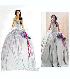 Fiaba - Bride Illustration , Wedding Dress,  Fashion Illustration, fashion illustrator by @MissStyleCreazioni ♥ ♥ ♥ ♥ ♥ ♥ www.etsy.com/shop/MissStyleCreazioni ♥ ♥ ♥ ♥ ♥ ♥