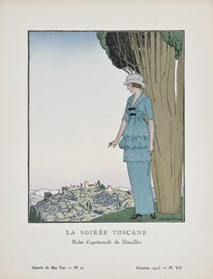 """""""La Soirée Toscane - Robe d'après-midi de Dœuillet,"""" André-Edouard Marty, October 1913. Published from 1912 to 1925, """"La Gazette du Bon Ton"""" was an iconic French fashion magazine started by Lucien Vogel. His goal was to emphasize the connection between fashion and art, and maintain a distinct and elitist image. Exquisite and vibrant fashion plates featuring women's clothing were created by modern artists of the period."""